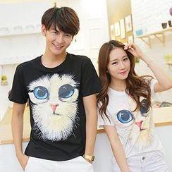 Azure - Couple Cat Print T-Shirt