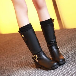 Pangmama - Buckled Wedged Mid-Calf Boots