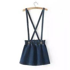 LULUS - Suspender Denim Skirt