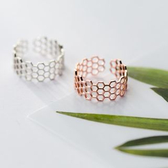 A'ROCH - S925 Silver Perforated Hexagon Open Ring