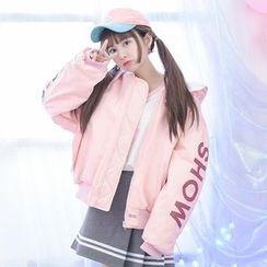 Moriville - Hooded Lettering Zip Jacket