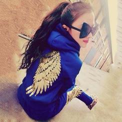 Honey Diary - 套裝: 翅膀亮片連帽拉鏈外套 + 運動褲