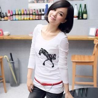 CatWorld - Long-Sleeve Zebra Print T-Shirt