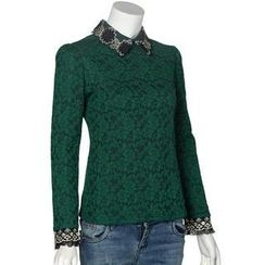 Calana - Long-Sleeve Collared Lace Top