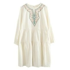 ninna nanna - Embroidered Long-Sleeve A-Line Dress