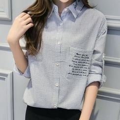 Cobogarden - Lettering Embroidered Striped Shirt