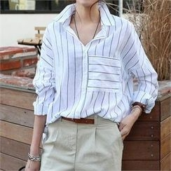 CHICFOX - Dip-Back Pinstriped Shirt