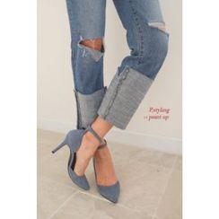 PPGIRL - Cuff-Hem Distressed Jeans
