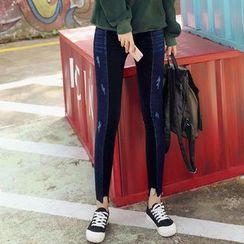 Sienne - Panel Distressed Skinny Jeans