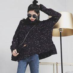 Sonne - Distressed Turtleneck Melange Knit Sweater