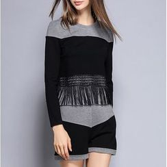 Rosesong - Set: Fringed Two-Tone Long-Sleeve Top + Shorts