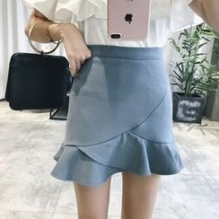 RUI - Flounced-Hem Mini Pencil Skirt