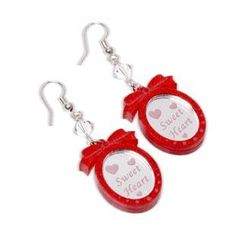 Sweet & Co. - Red Glitter Sweet Heart Pendant Swarvoski Dangle Earrings