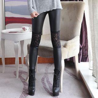 Kally Kay - Lace-Inset Coated Leggings