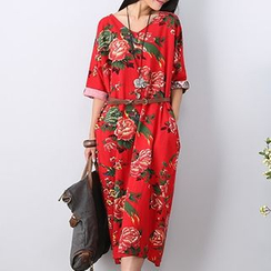 Diosa - Floral Maxi Dress with Belt
