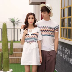 Aikoo - Short-Sleeve Printed Couple T-Shirt / Dress