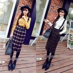 QZ Lady - Plaid Woolen Jumper Skirt