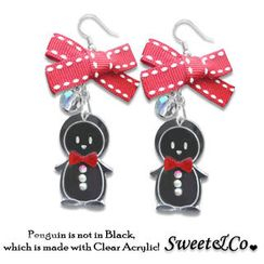 Sweet & Co. - Lovely Red Ribbon & Bowtie Penguin Earrings