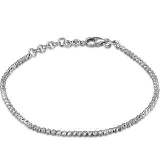 MaBelle - 14K Italian White Gold Diamond-Cut Beads Bracelet (6.5'')
