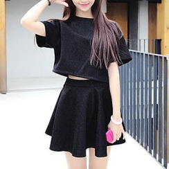 QZ Lady - Set: Glittered Cropped Top + A-Line Skirt