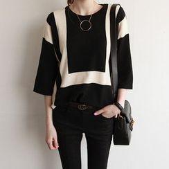 NIPONJJUYA - Contrast-Trim Wool Blend Knit Top