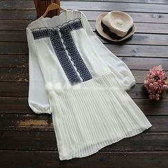 YOYO - Long-Sleeve Lace-Trim Pleated Chiffon Dress