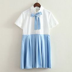 ninna nanna - Short-Sleeve Two-tone Collared Pleated Dress