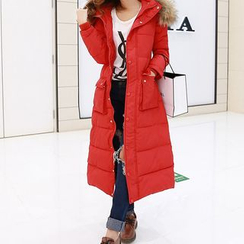 FancyMe - Camouflage Furry Collar Padded Coatdress