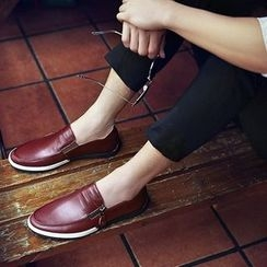 BINSHOU - Genuine-Leather Zip-Accent Loafers