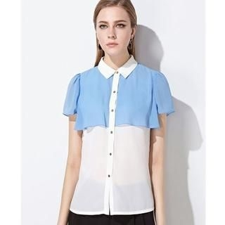 Moonbasa - Short-Sleeve Panel Chiffon Blouse