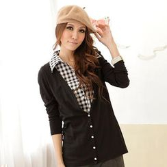 RingBear - Mock Two-Piece Check Shirt