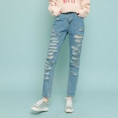 Seoul Fashion - Straight-Cut Distressed Jeans
