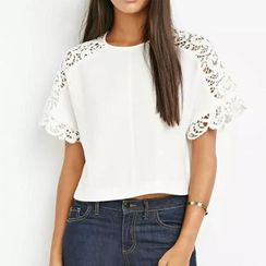 Chicsense - Short-Sleeve Crochet Panel Top