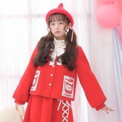 Moriville - Strawberry Embroidered Woolen Coat