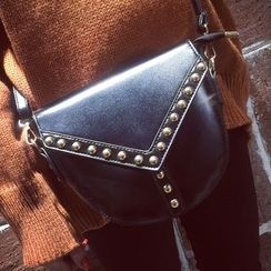 Nautilus Bags - Faux Leather Studded Crossbody Bag