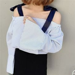 Mayflower - Striped Tie Strap Off Shoulder Top