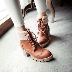 Pangmama - Fleece-Trim Lace-Up Ankle Boots