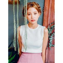 icecream12 - Sleeveless Colored Knit Top