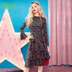 ELF SACK - Long-Sleeve Printed Cutout Layered Dress