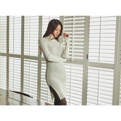 UUZONE - Turtle-Neck Slit-Hem Rib-Knit Dress
