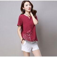Salisha - 刺繡開領短袖T恤
