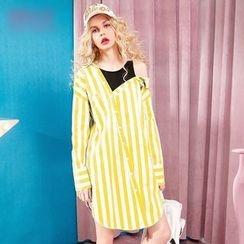 ELF SACK - Long-Sleeve Paneled Cutout Striped Dress