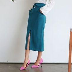 DABAGIRL - Slit-Hem Belted Long Skirt