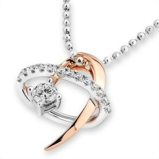 MaBelle - 18ct Rose White Gold Diamond Accent Swirling Shooting Star Pendant Necklace (0.22 cttw) (FREE 925 Silver Box Chain, 16')