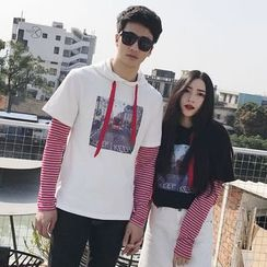 AJIEJIA - Couple Matching Mock Two Piece Printed Hoodie