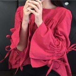 Cloud Nine - Linen Cotton Bell-Sleeve Top