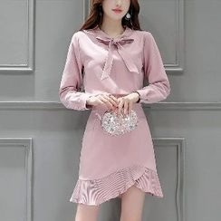 Romantica - Set: Long-Sleeve Tie-Neck Blouse + Paneled Skirt