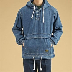 THE COVER - Hooded Pocket-Front Denim Top