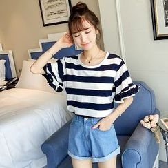 Colorful Shop - Short-Sleeve Striped T-Shirt