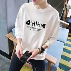 Besto - Fishbone Print 3/4-Sleeve Sweatshirt